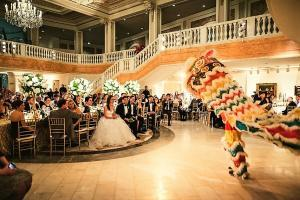 Lucky lions bow to wedding reception.